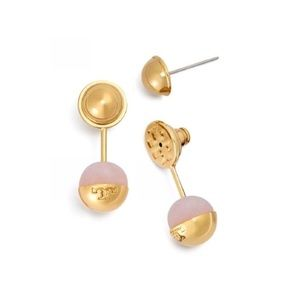 Tory Burch Bead Rose Quartz Ear Jacket